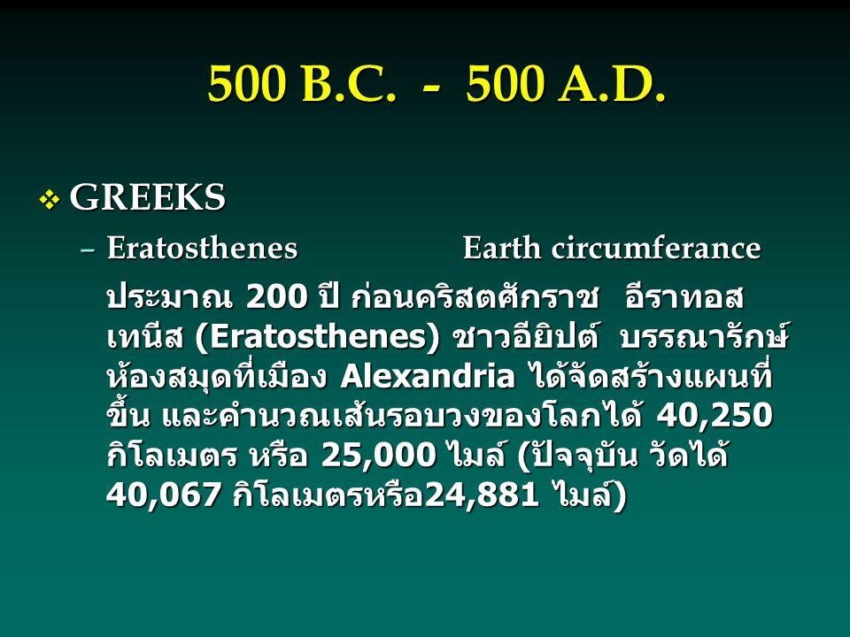 500 B.C. - 500 A.D. GREEKS Eratosthenes Earth circumferance