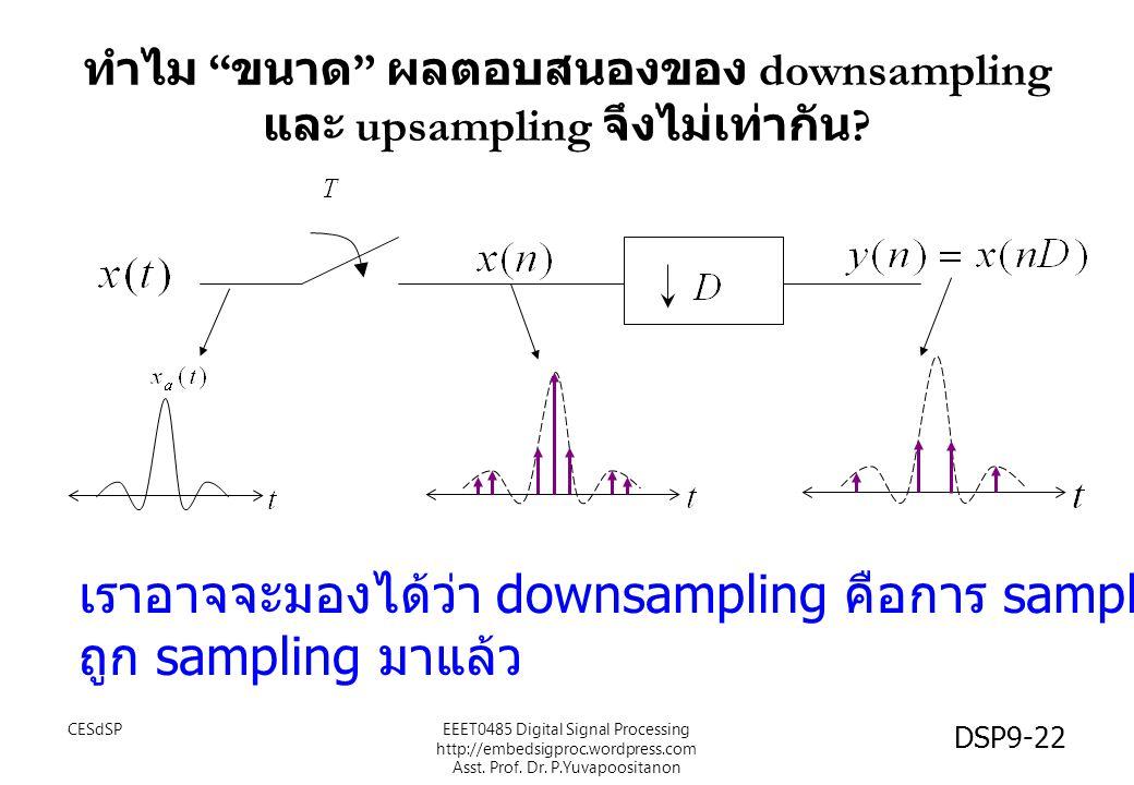 ทำไม ขนาด ผลตอบสนองของ downsampling และ upsampling จึงไม่เท่ากัน