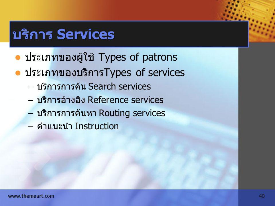 บริการ Services ประเภทของผู้ใช้ Types of patrons