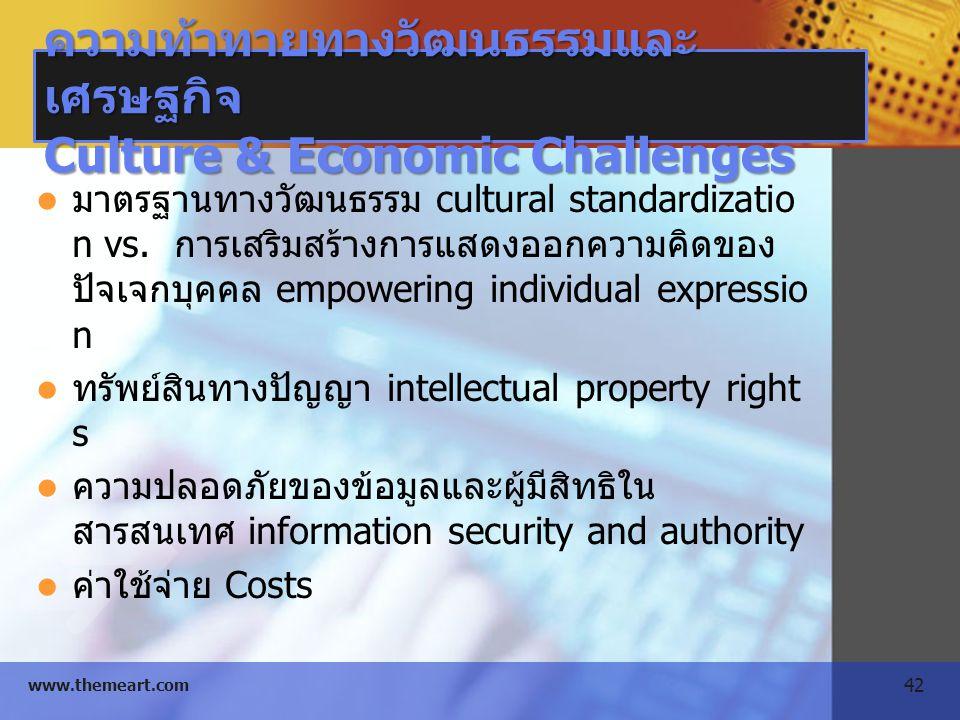 ความท้าทายทางวัฒนธรรมและเศรษฐกิจ Culture & Economic Challenges