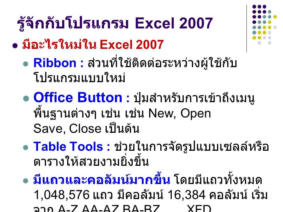 รู้จักกับโปรแกรม Excel 2007
