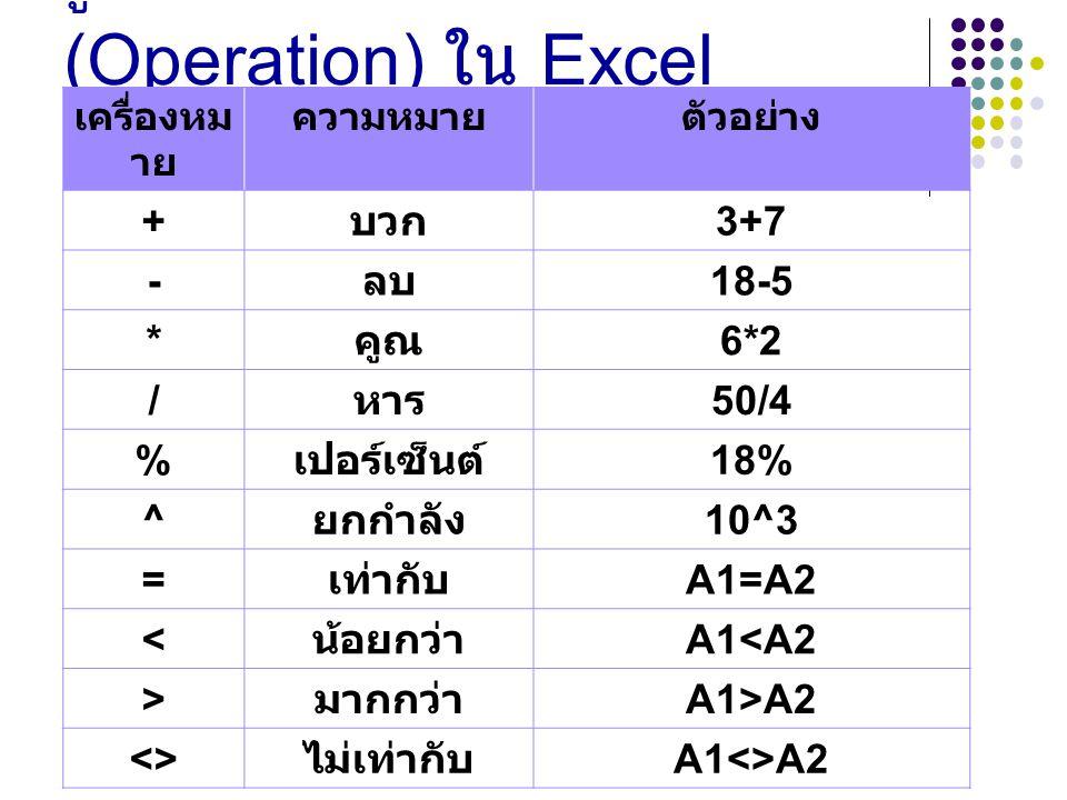 รู้จักกับตัวดำเนินการ (Operation) ใน Excel