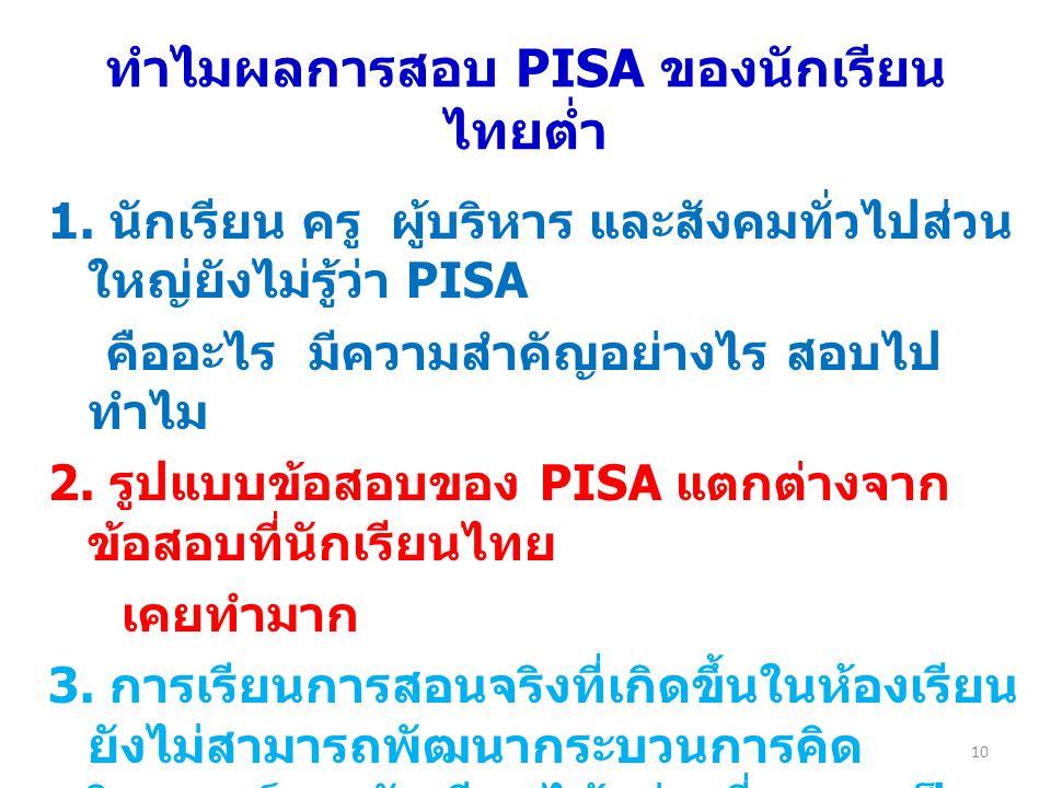 ทำไมผลการสอบ PISA ของนักเรียนไทยต่ำ