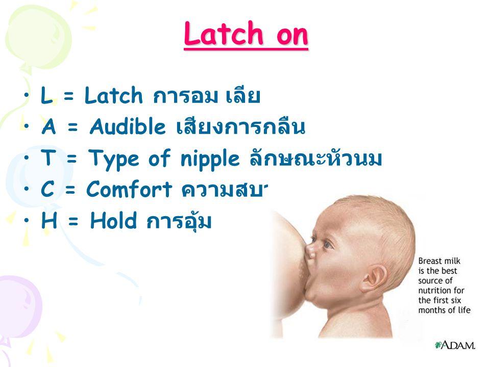 Latch on L = Latch การอม เลีย A = Audible เสียงการกลืน