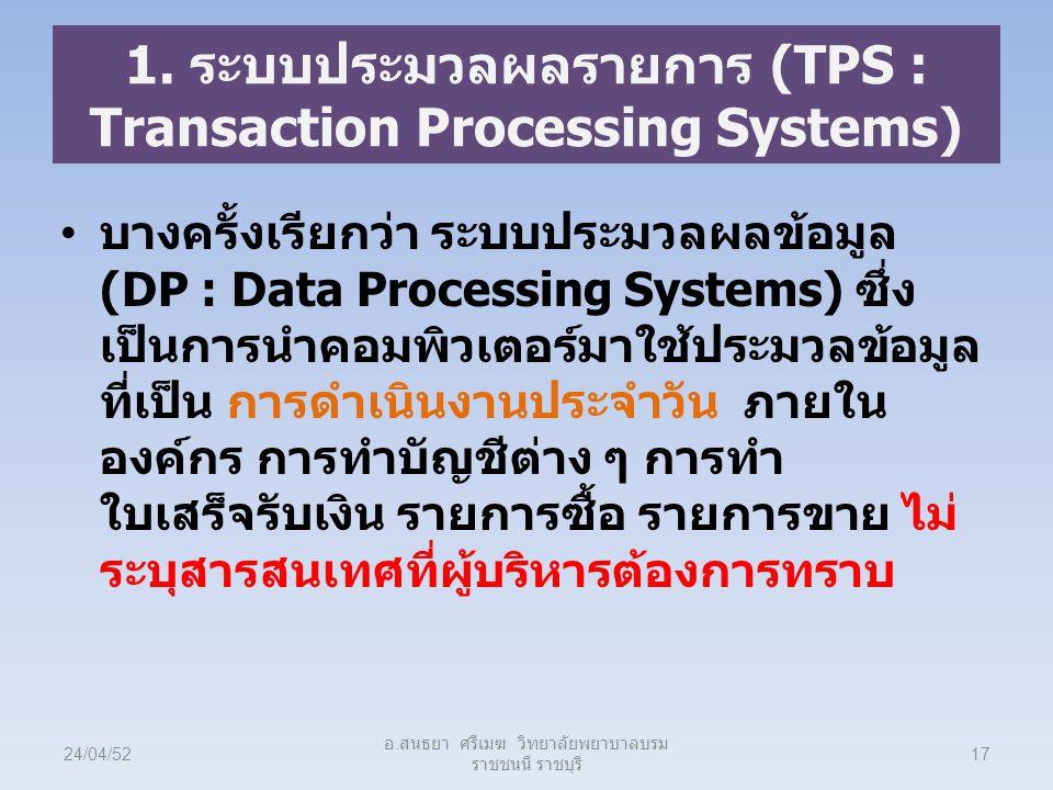 1. ระบบประมวลผลรายการ (TPS : Transaction Processing Systems)