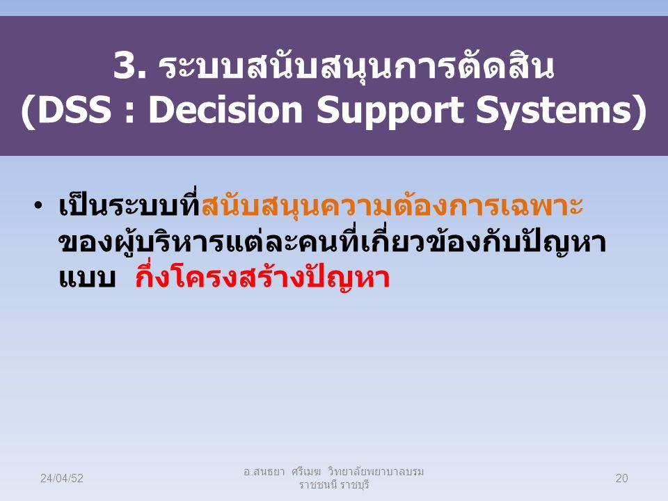 3. ระบบสนับสนุนการตัดสิน (DSS : Decision Support Systems)