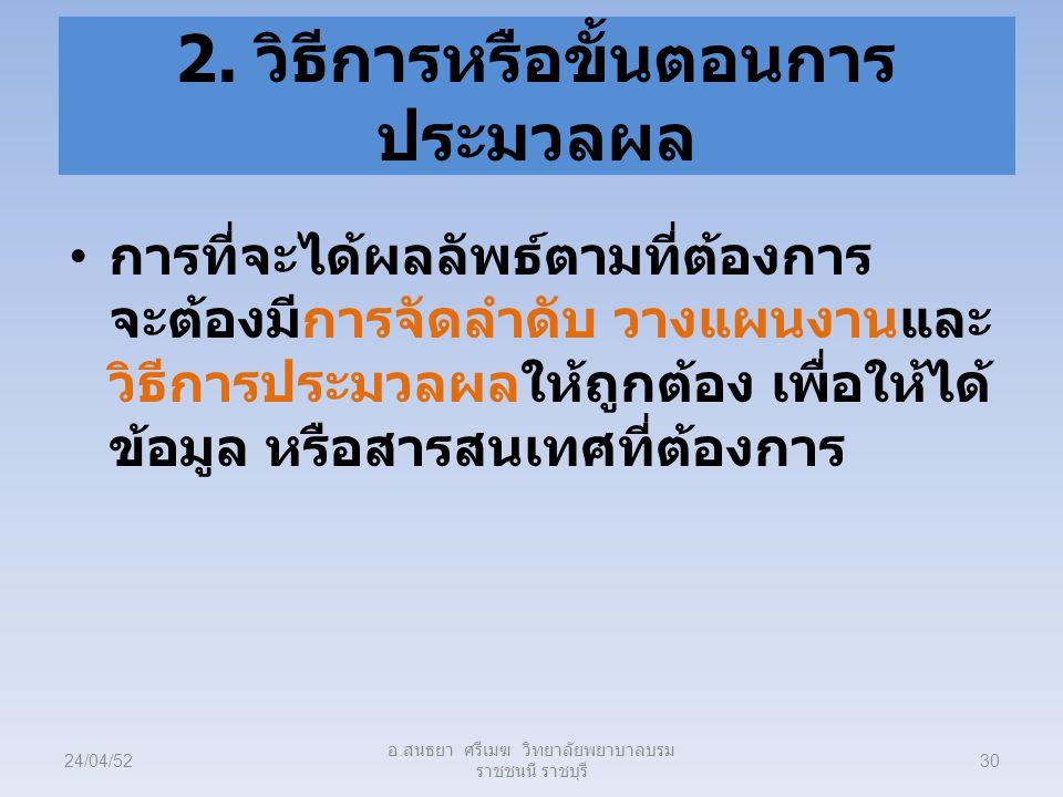 2. วิธีการหรือขั้นตอนการประมวลผล