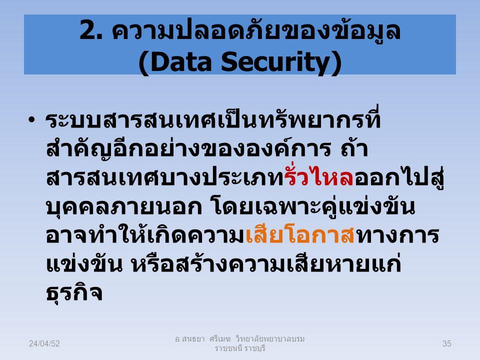 2. ความปลอดภัยของข้อมูล (Data Security)