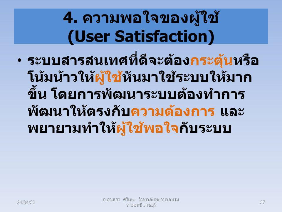 4. ความพอใจของผู้ใช้ (User Satisfaction)