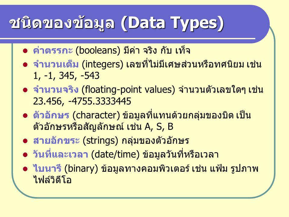 ชนิดของข้อมูล (Data Types)