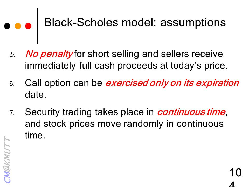 Black-Scholes model: assumptions