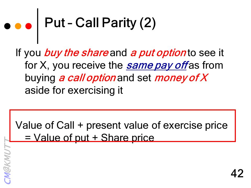 Put – Call Parity (2)