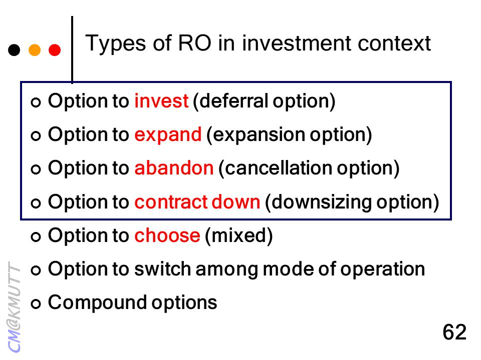 Types of RO in investment context