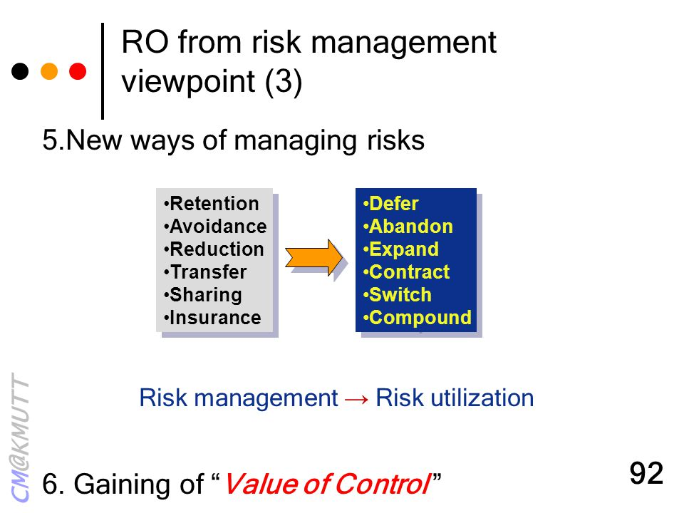 RO from risk management viewpoint (3)