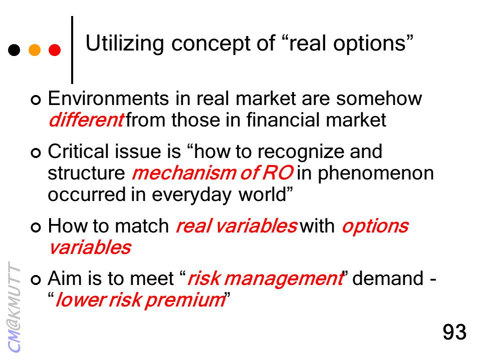Utilizing concept of real options