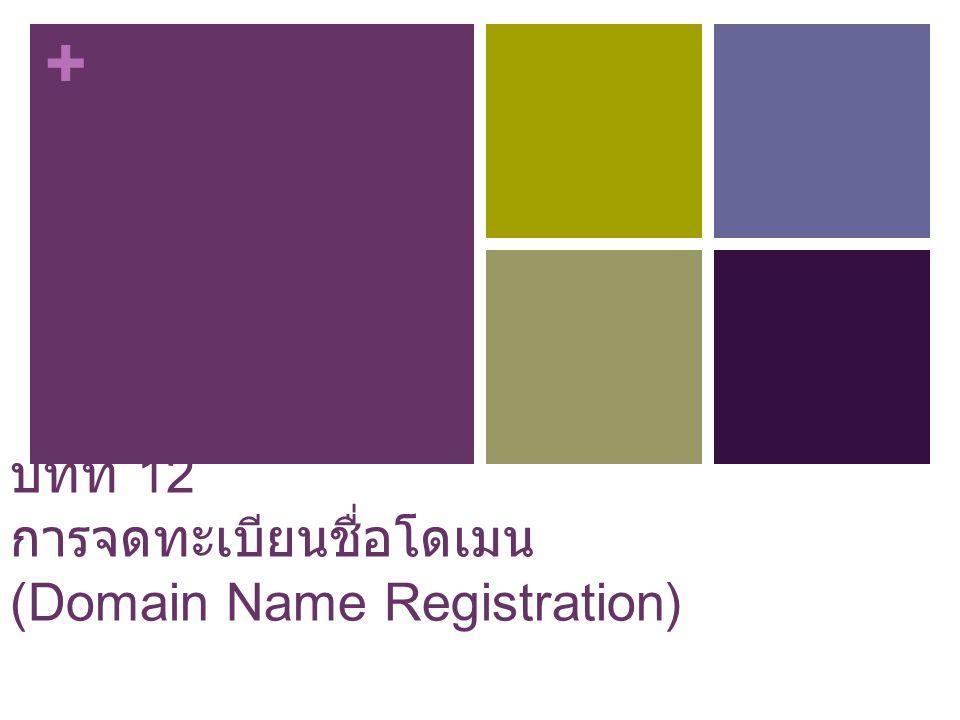 บทที่ 12 การจดทะเบียนชื่อโดเมน (Domain Name Registration)