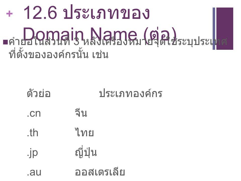 12.6 ประเภทของ Domain Name (ต่อ)