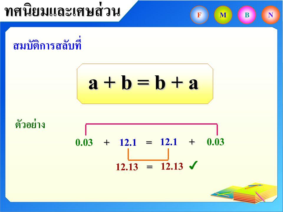 a + b = b + a ทศนิยมและเศษส่วน สมบัติการสลับที่ 0.03 + 12.1 = 12.1 +