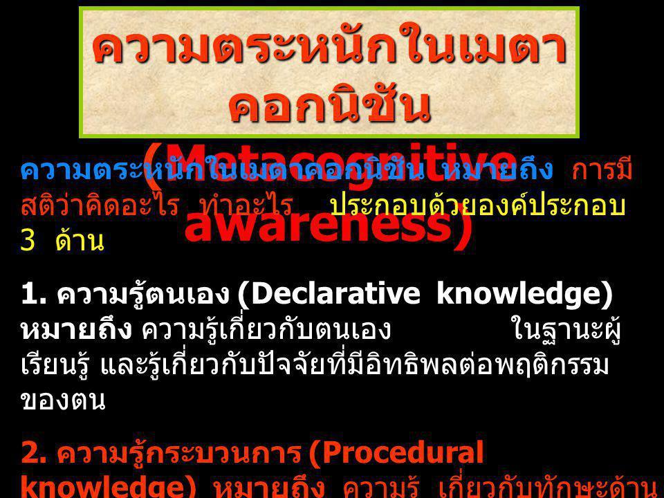 ความตระหนักในเมตาคอกนิชัน(Metacognitive awareness)