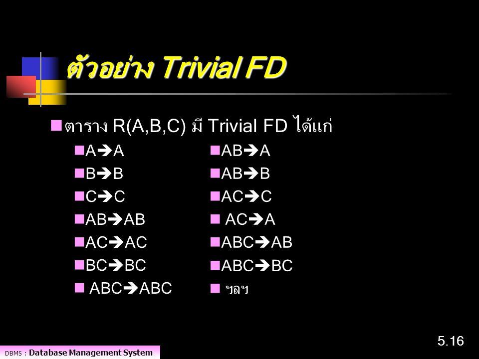 ตัวอย่าง Trivial FD ตาราง R(A,B,C) มี Trivial FD ได้แก่ AA BB ABA