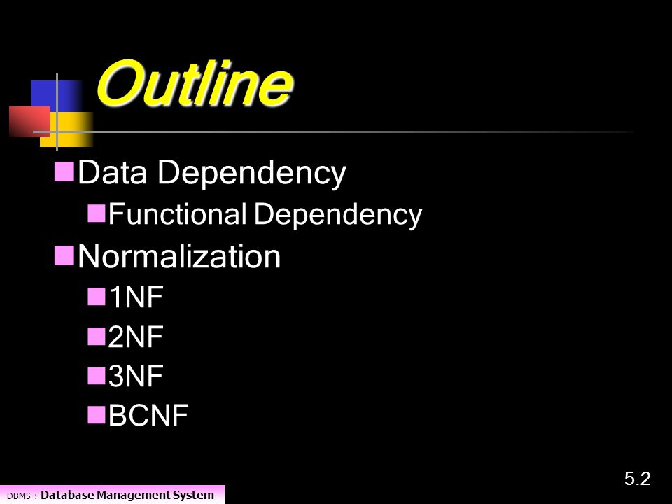 Outline Data Dependency Normalization Functional Dependency 1NF 2NF