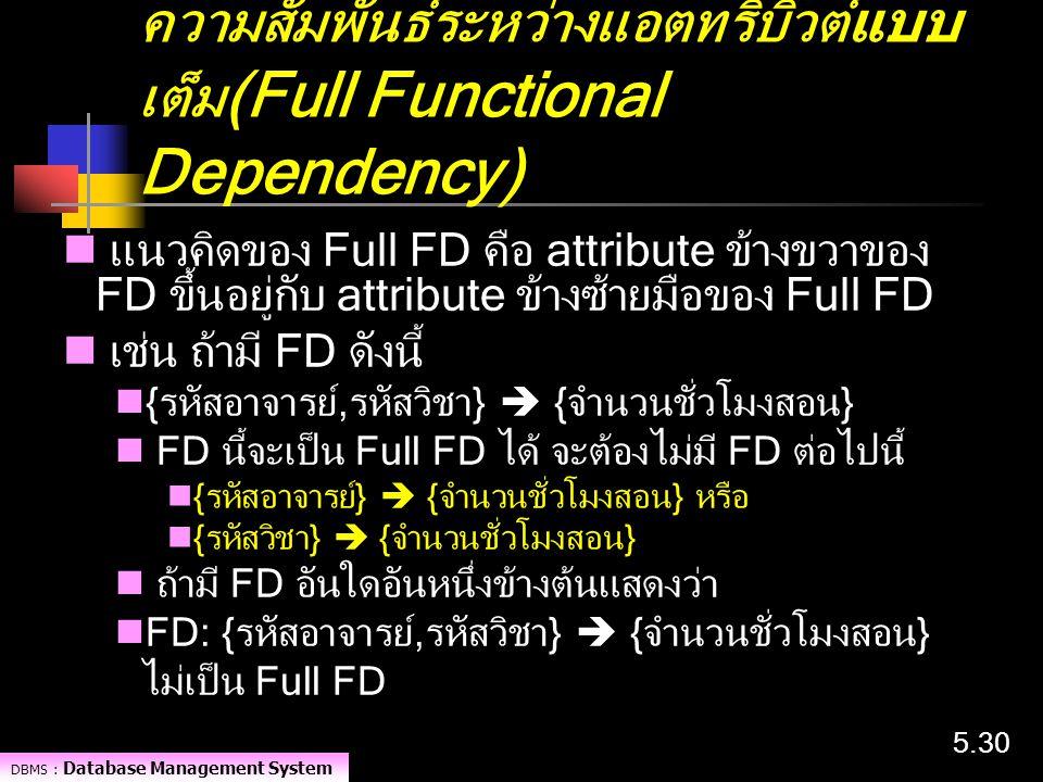 ความสัมพันธ์ระหว่างแอตทริบิวต์แบบเต็ม(Full Functional Dependency)