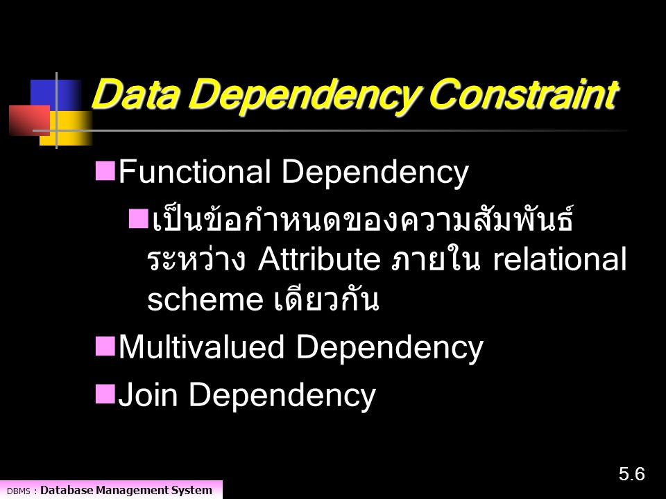 Data Dependency Constraint