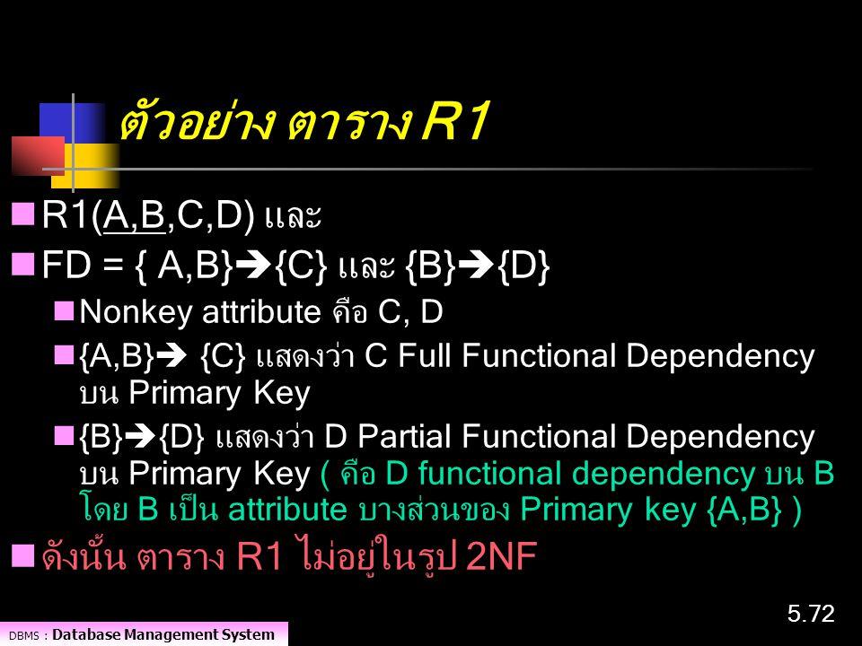 ตัวอย่าง ตาราง R1 R1(A,B,C,D) และ FD = { A,B}{C} และ {B}{D}
