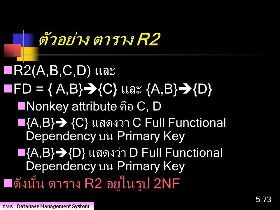 ตัวอย่าง ตาราง R2 R2(A,B,C,D) และ FD = { A,B}{C} และ {A,B}{D}