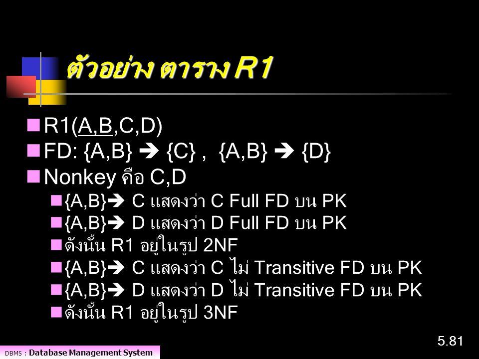 ตัวอย่าง ตาราง R1 R1(A,B,C,D) FD: {A,B}  {C} , {A,B}  {D}