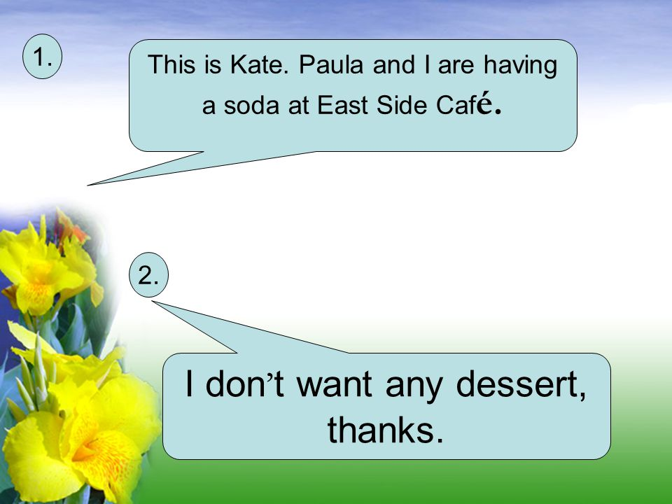 I don't want any dessert, thanks.