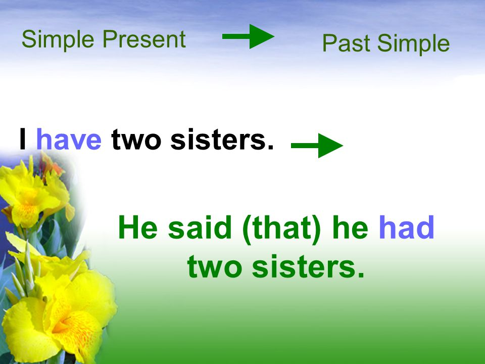 He said (that) he had two sisters.