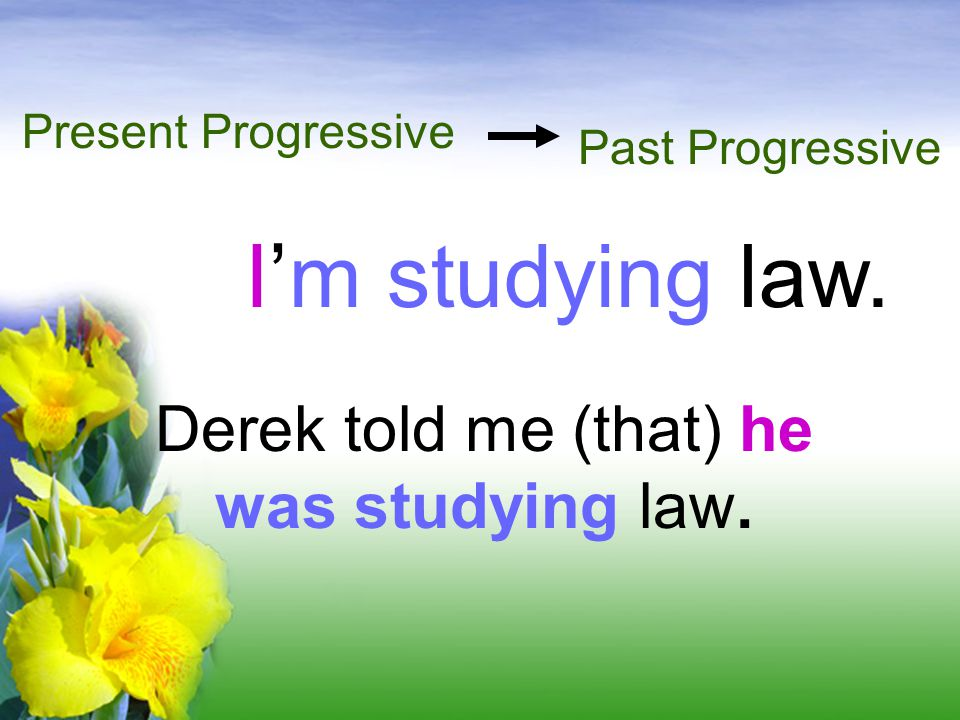 Derek told me (that) he was studying law.