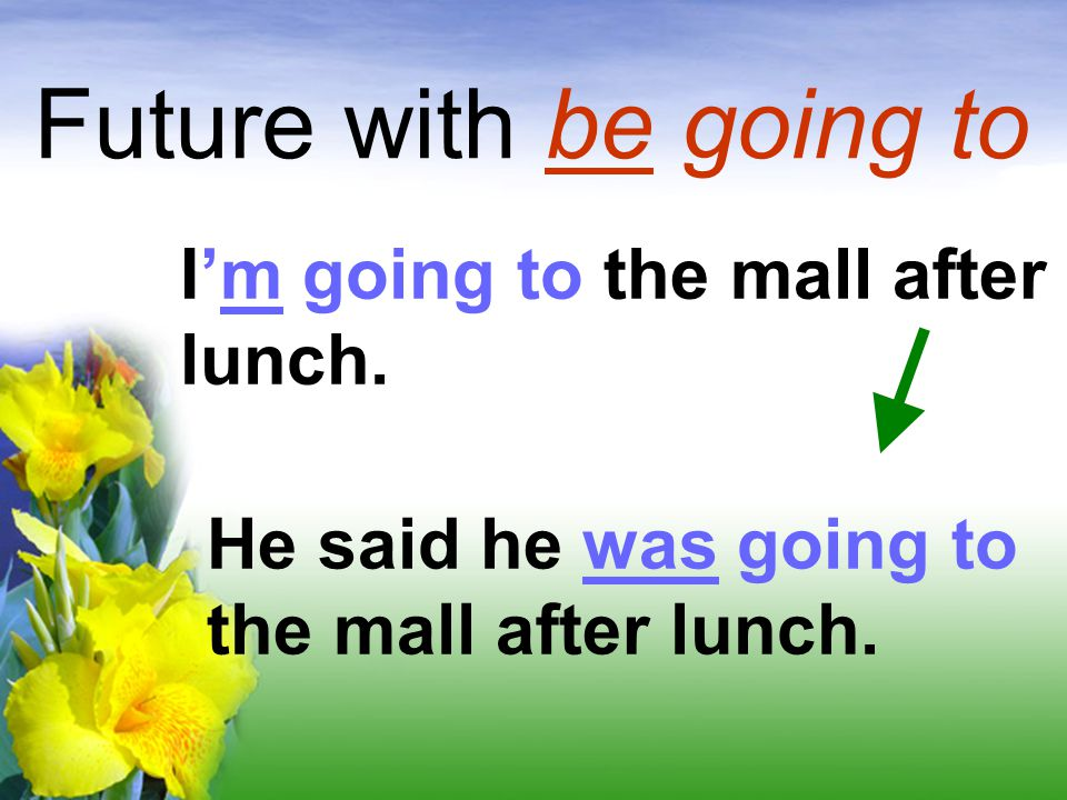 Future with be going to I'm going to the mall after lunch.
