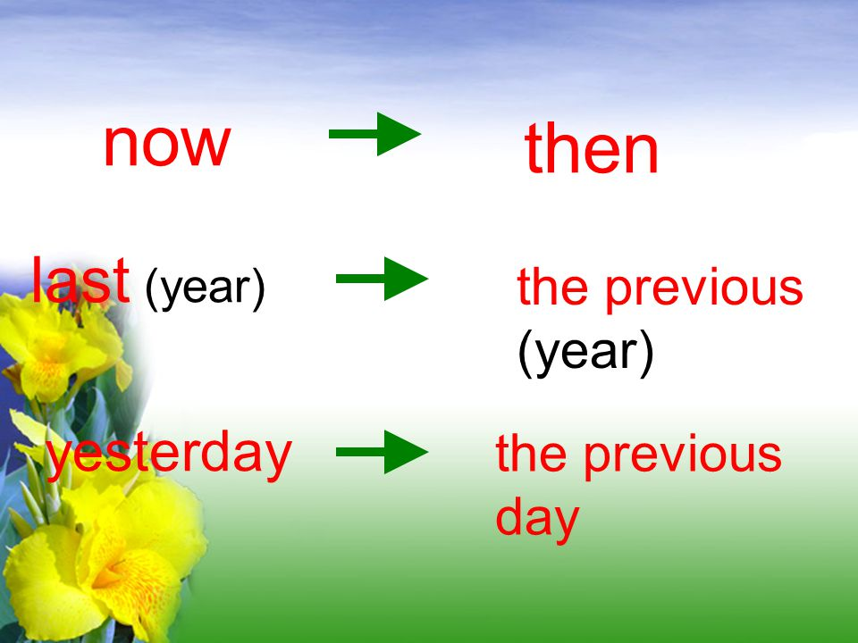 now then last (year) the previous (year) yesterday the previous day