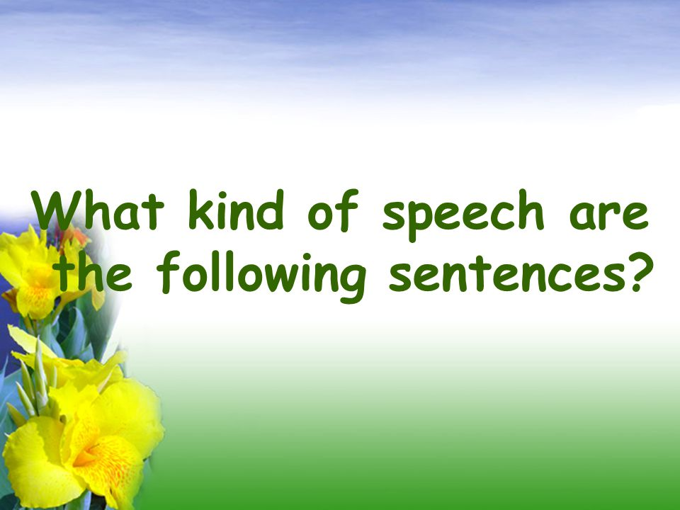 What kind of speech are the following sentences