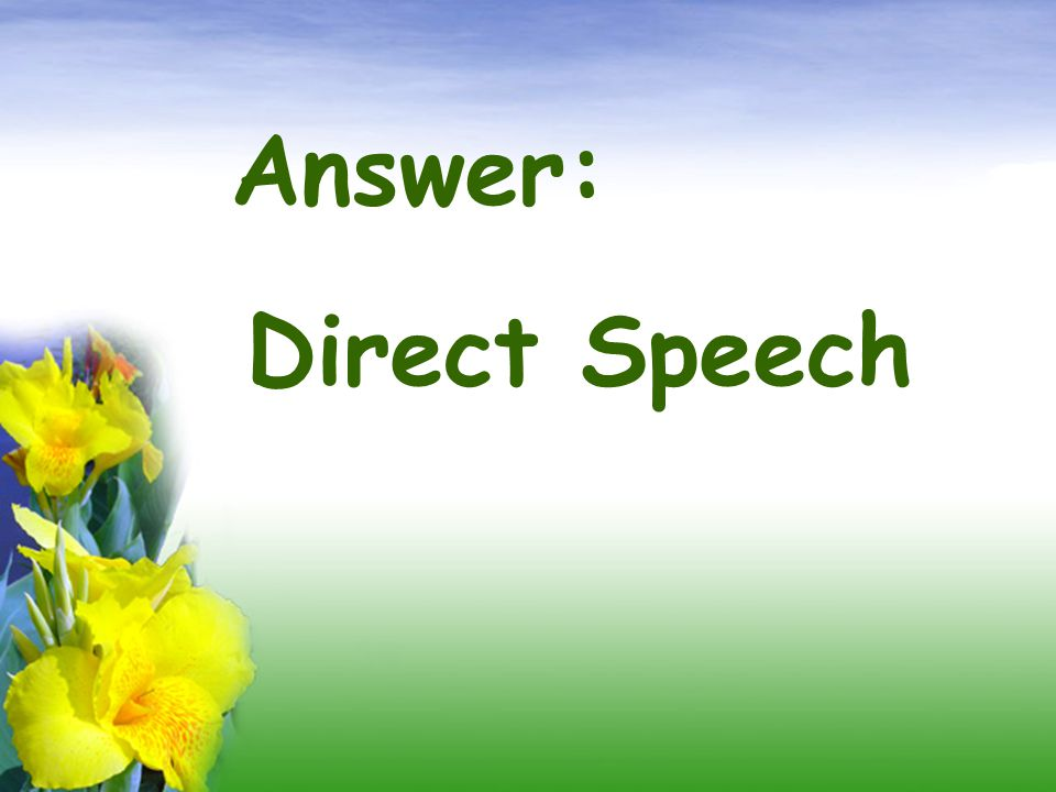 Answer: Direct Speech