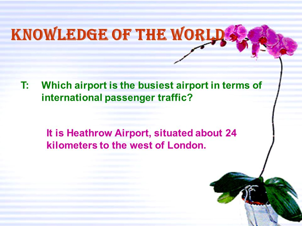 Knowledge of the world T: Which airport is the busiest airport in terms of. international passenger traffic