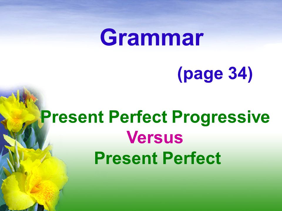 Present Perfect Progressive Versus