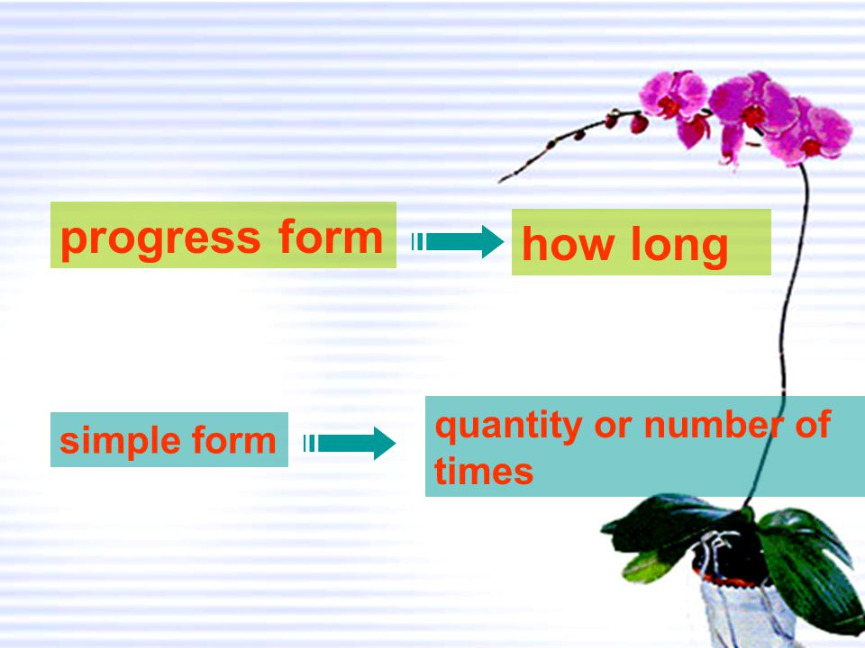 progress form how long quantity or number of times simple form