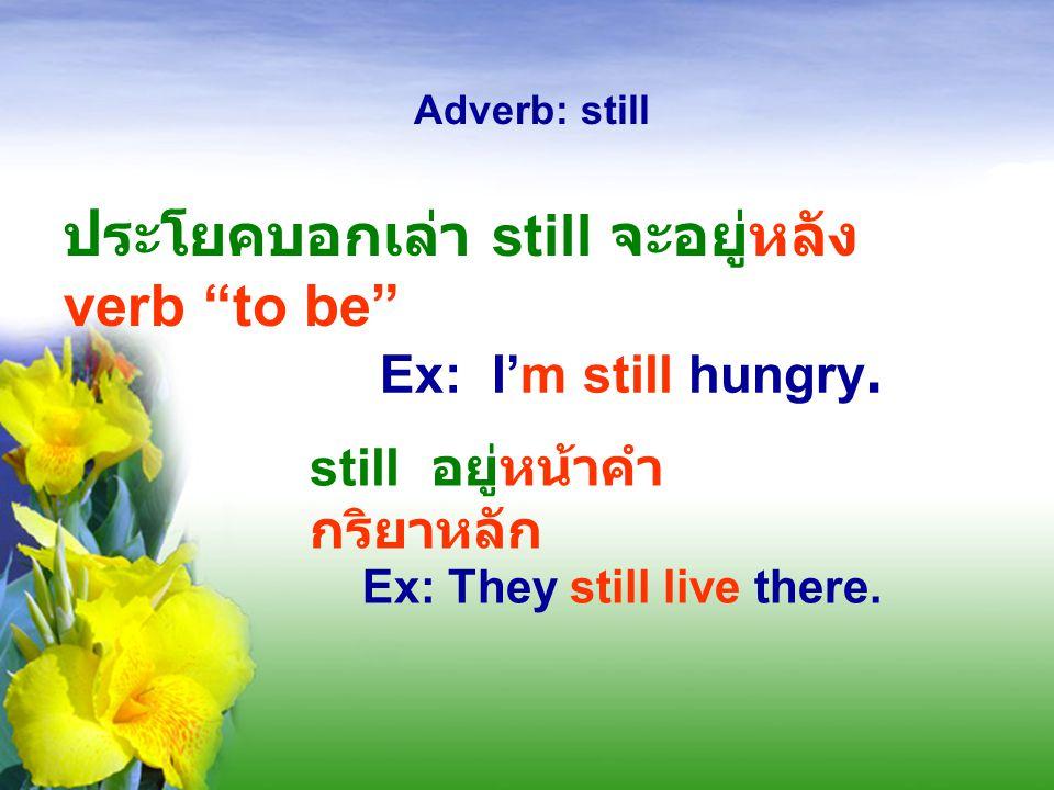 ประโยคบอกเล่า still จะอยู่หลัง verb to be