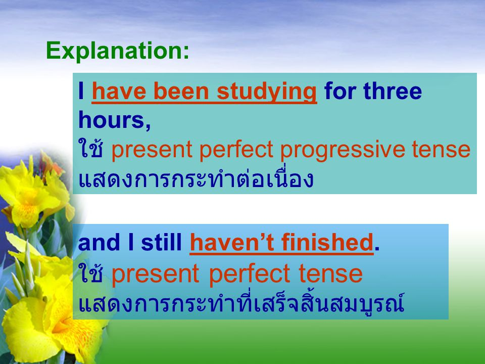 Explanation: I have been studying for three hours, ใช้ present perfect progressive tense แสดงการกระทำต่อเนื่อง.