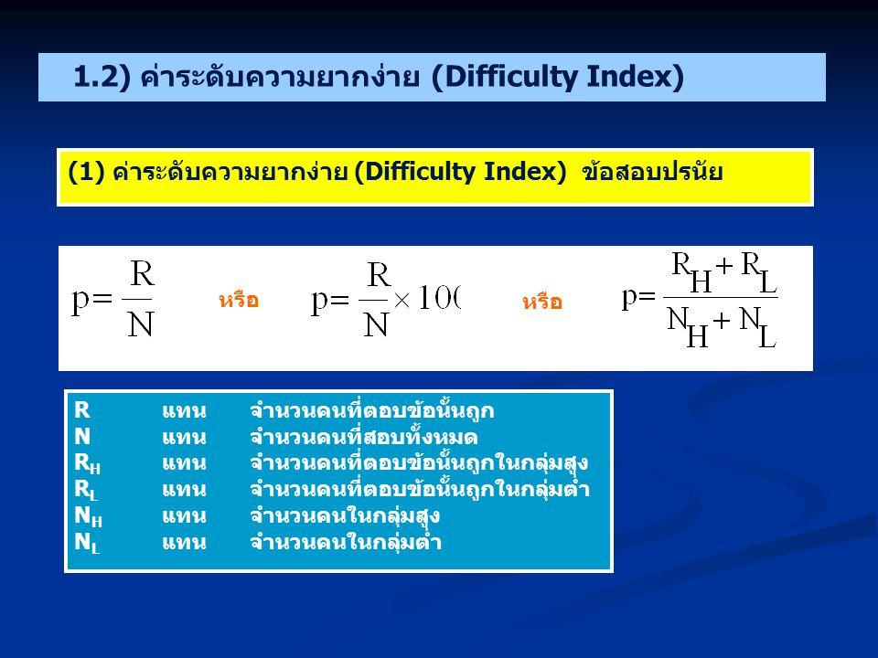 1.2) ค่าระดับความยากง่าย (Difficulty Index)