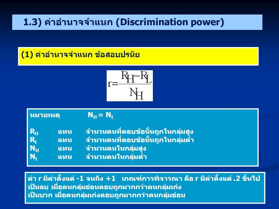 1.3) ค่าอำนาจจำแนก (Discrimination power)