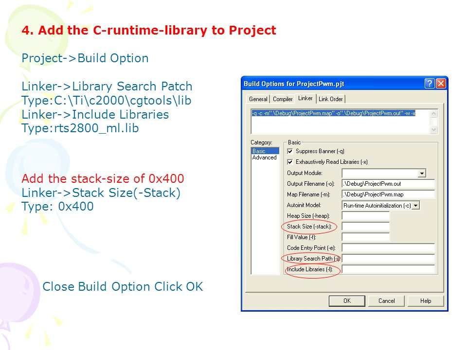 4. Add the C-runtime-library to Project