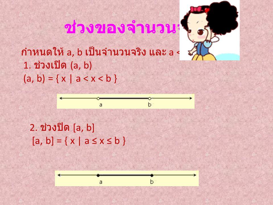 ช่วงของจำนวนจริง กำหนดให้ a, b เป็นจำนวนจริง และ a < b