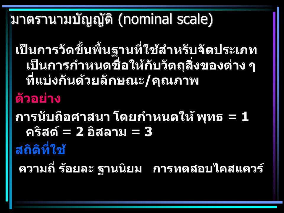 มาตรานามบัญญัติ (nominal scale)