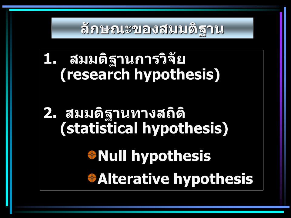 ลักษณะของสมมติฐาน 1. สมมติฐานการวิจัย (research hypothesis) 2. สมมติฐานทางสถิติ (statistical hypothesis)