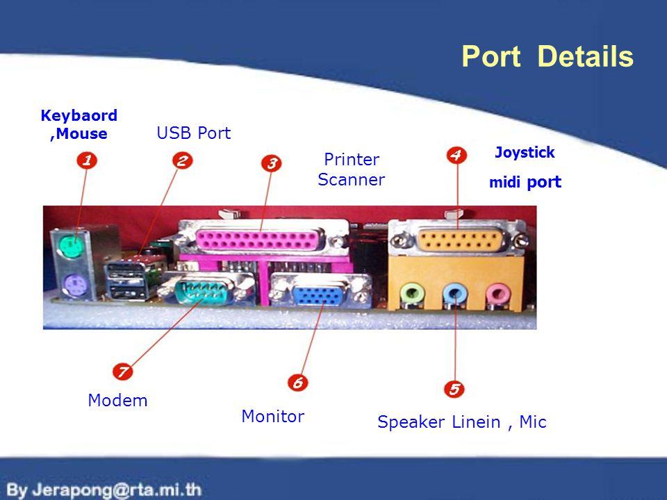 Port Details USB Port Printer Scanner Modem Monitor