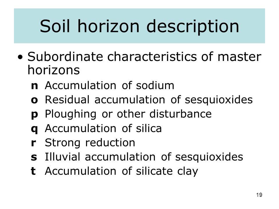 Soil horizon description